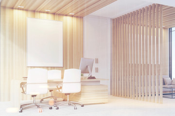Elegant CEO room interior, poster, side, toned