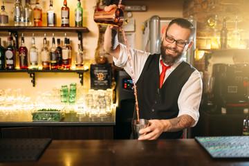 Barkeeper show behind restaurant bar counter