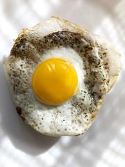 Fried quail egg on a plate.