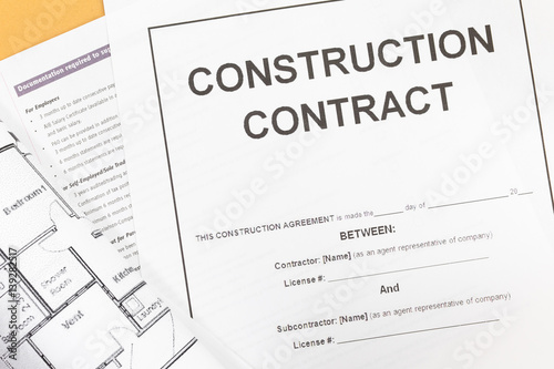 Close up Blank construction contract paper photo and – Blank Construction Contract