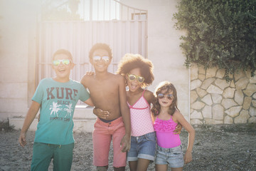 Children together enjoying summer vacation