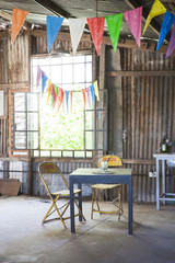 Workshop decorated with pennant streamers