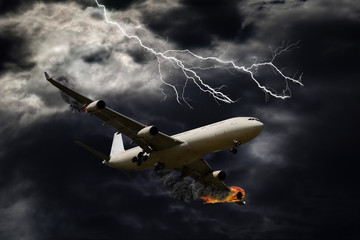 Cinematic Portrayal of Airplane With Engine Fire