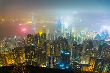 Hong kong city skyline at victoria peak view at night.