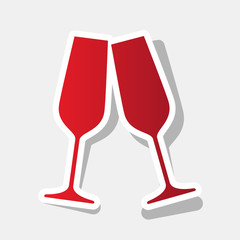 Sparkling champagne glasses. Vector. New year reddish icon with outside stroke and gray shadow on light gray background.