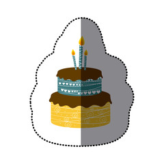 sticker colorful picture birthday cake two floors with candles vector illustration