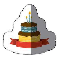 sticker colorful picture birthday cake two floors with candles and ribbon vector illustration