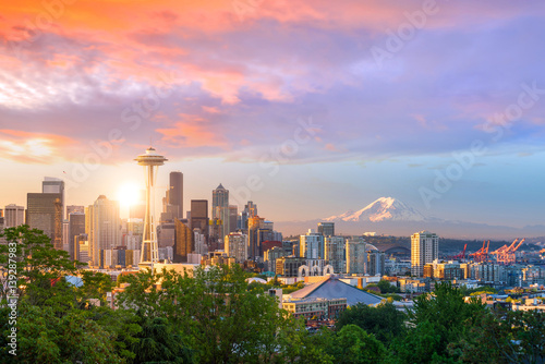 Fotomurales View of downtown Seattle skyline