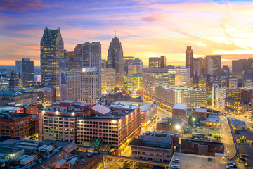 Wall Murals United States Aerial view of downtown Detroit at twilight