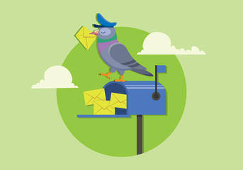 pigeon postman holding mail stand on blue mailbox, new message flat vector illustration