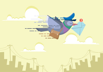 pigeon postman flying over the sky sending email concept flat vector illustration