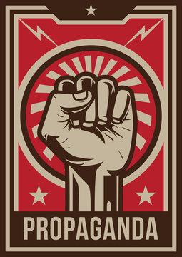 Propaganda poster style revolution fist raised in the air