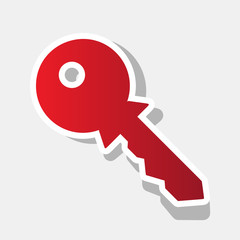 Key sign illustration. Vector. New year reddish icon with outside stroke and gray shadow on light gray background.