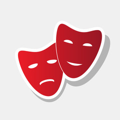 Theater icon with happy and sad masks. Vector. New year reddish icon with outside stroke and gray shadow on light gray background.