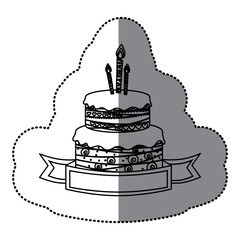 sticker silhouette birthday cake two floors with candles and ribbon vector illustration