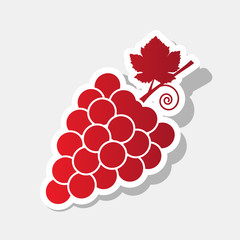 Grapes sign illustration. Vector. New year reddish icon with outside stroke and gray shadow on light gray background.
