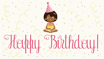 Happy Birthday card with black girl.
