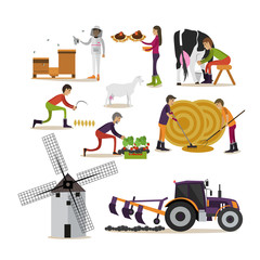 Vector set of farming concept design elements in flat style