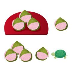 関西の桜餅とカメ