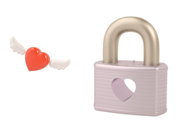 Lock with heart,Valentine's Day Background. 3D illustration.