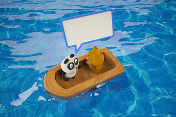 A panda with a dog in a wooden boat,part 1. 3D rendering.