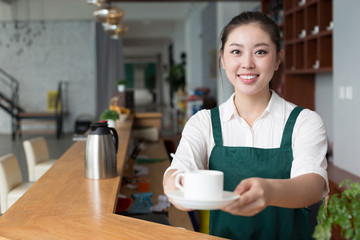 young pretty woman works in cafe