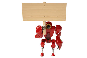 Robot and  wooden sign
