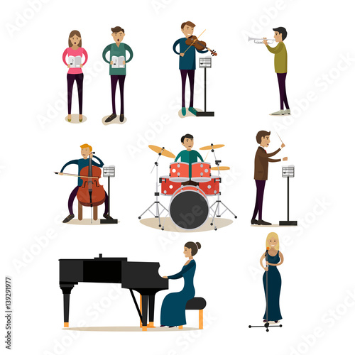 Vector flat icons set of symphony orchestra people