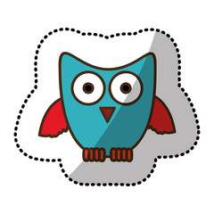 blue stylized owl icon, vector illustraction design image