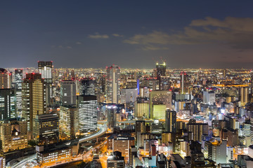 Osaka city central business downtown aerial view skyline at twilight, Japan