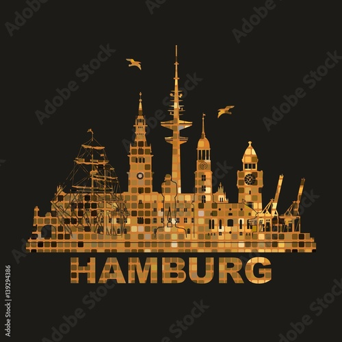 hamburg skyline schattenriss denkm ler kultur sehenw rdigkeiten industrie museen wandtatoo. Black Bedroom Furniture Sets. Home Design Ideas