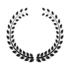 Simple black wreath vector icon illustration on white background