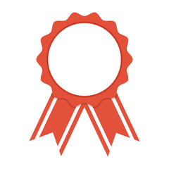 Award ribbon with shadow on white background