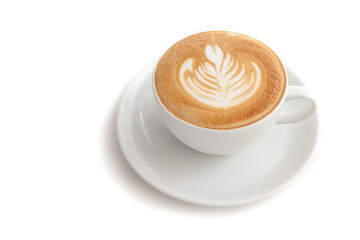 Wall Mural - Coffee cup of rosetta latte art on white background isolated