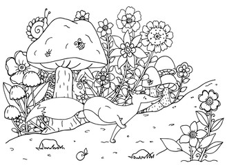 Vector illustration of handmade work, zentangl fox and forest. Doodle drawing. Coloring page Anti stress for adults. Black and white.