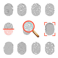 Fingerprints or fingertip print identification scanner and magnifier vector icons