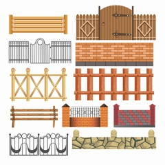 Gate, fences and hedges metal, stone, wood vector icons set