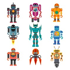 Robots and transformers retro cartoon toys flat icons set