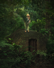 Fairy tale with child at the jungle forest