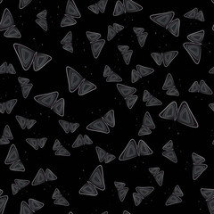 Seamless pattern with butterflies. Dark background. Vector