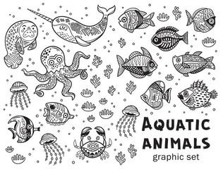 Aquatic animals vector graphic set