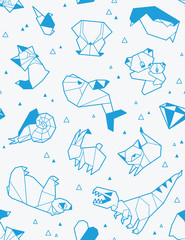 Origami pattern background with papers animals. Vector illustration