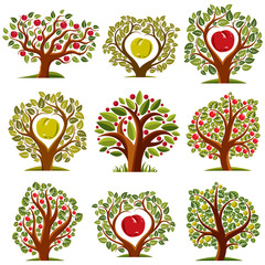 Vector art drawn trees with ripe apples. Harvest season idea eco symbols, can be used as ecology and environmental conservation concept.