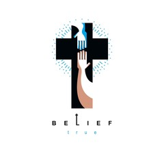 Hand of believer extends to the hand of God, helping and love of Jesus.Christian Cross true belief in God vector symbol, Christianity religion icon.