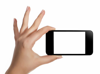 Hand with smart phone white screen isolated on white background with clipping path