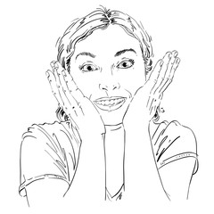 Hand-drawn portrait of white-skin surprised happy woman, gesturing. Face emotions theme illustration. Beautiful shocked lady posing on white background.