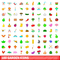100 garden icons set, cartoon style