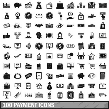 100 payment icons set in simple style