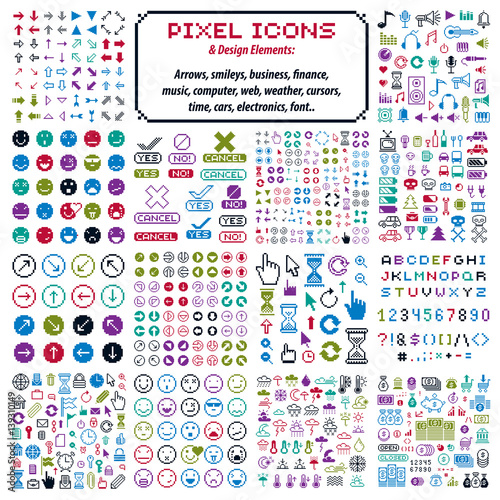 Vector flat 8 bit icons, collection of simple geometric pixel