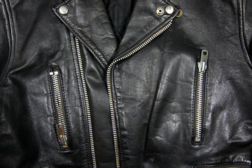 Black leather with zipper in different positions
